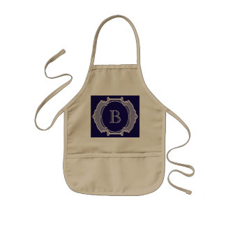 Monogram white frame kids apron