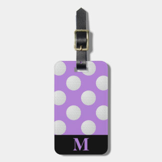 Monogram White Golf Balls, Lavender Luggage Tag
