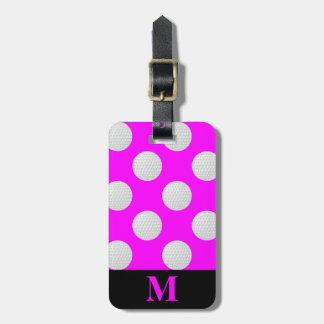 Monogram White Golf Balls, Pink Luggage Tag