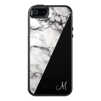 Monogram White Gray And Black Marble Stone OtterBox iPhone 5/5s/SE Case