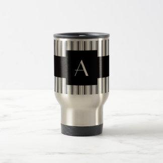 Monogram white grey stripes stainless steel travel mug