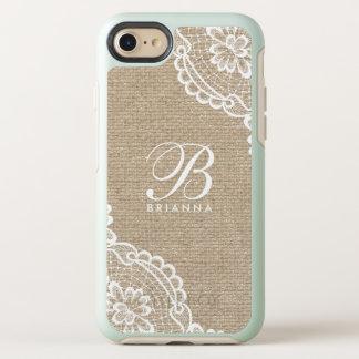 Monogram White Lace Burlap OtterBox Symmetry iPhone 8/7 Case
