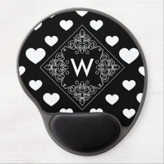 Monogram White Love Heart Pattern on Black Gel Mouse Pad