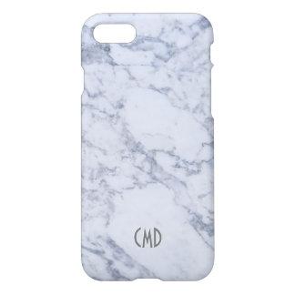 Monogram White Marble Stone Pattern iPhone 8/7 Case
