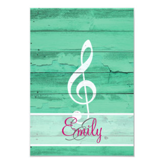 Monogram White Music Note Girly Turquoise Wood 9 Cm X 13 Cm Invitation Card