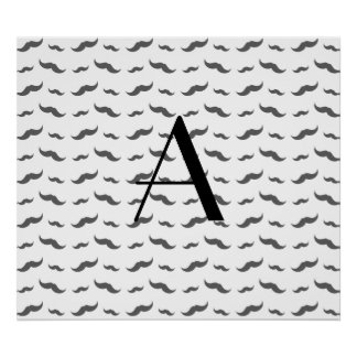 Monogram white mustache pattern poster