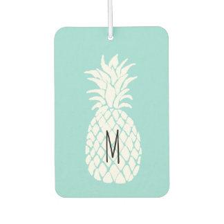monogram white pineapple car air freshener
