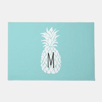 monogram white pineapple doormat