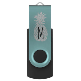 monogram white pineapple USB flash drive