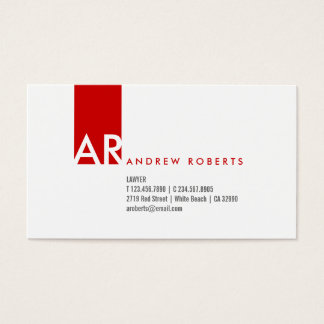 Monogram White Red Clean Business Card