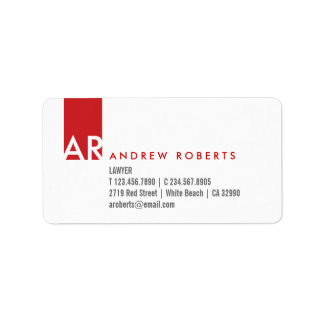 Monogram White Red Clean Business Info Labels