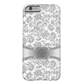 Monogram White & Silver Floral Damasks Barely There iPhone 6 Case
