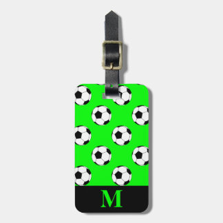 Monogram White Soccer Football Balls, Lime Green Tags For Luggage
