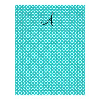 Monogram white turquoise polka dots 21.5 cm x 28 cm flyer