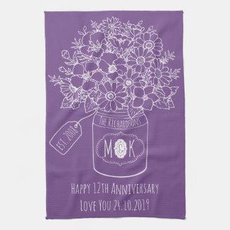 Monogram Wildflowers Bouquet Hand-Drawn Mason Jar Tea Towel