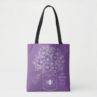 Monogram Wildflowers Bouquet Hand-Drawn Mason Jar Tote Bag