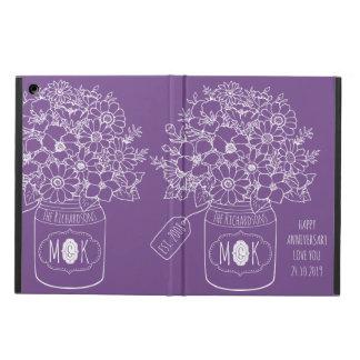 Monogram Wildflowers Bouquet Mason Jar Hand-Drawn Cover For iPad Air