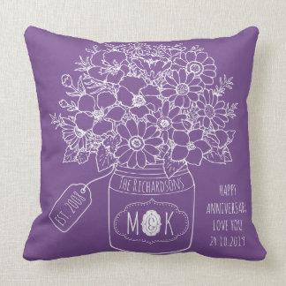 Monogram Wildflowers Bouquet Mason Jar Hand-Drawn Cushion