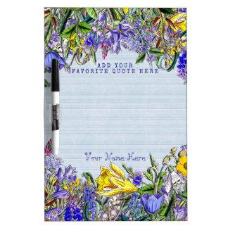 Monogram Wildflowers Vintage Purple Yellow Flowers Dry Erase Board