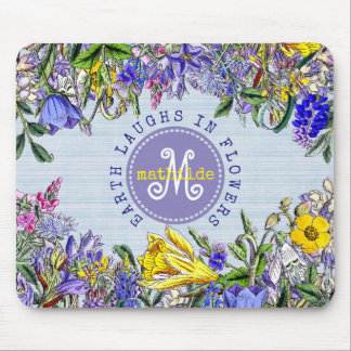 Monogram Wildflowers Vintage Purple Yellow Flowers Mouse Pad