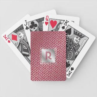 Monogram Wine Red Silver Interlocking Pattern Bicycle Playing Cards
