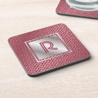 Monogram Wine Red Silver Interlocking Pattern Coaster