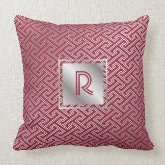 Monogram Wine Red Silver Interlocking Pattern Cushion