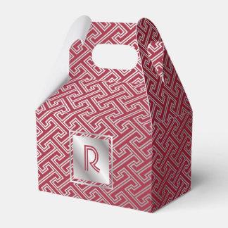 Monogram Wine Red Silver Interlocking Pattern Favour Box