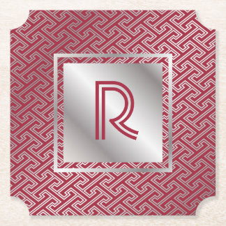 Monogram Wine Red Silver Interlocking Pattern Paper Coaster
