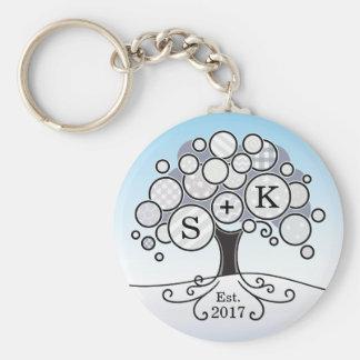 Monogram Winter Wedding Patchwork Pattern Tree Basic Round Button Key Ring