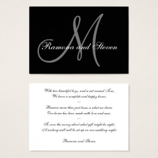 Monogram Wishing Well Card for Wedding Invitations