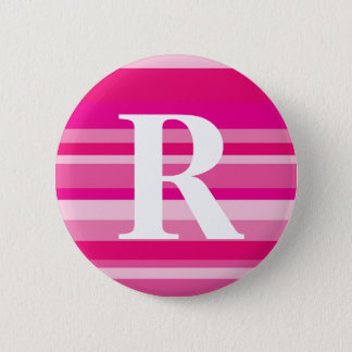 Monogram with a Colorful Striped Background - R 6 Cm Round Badge