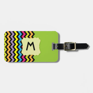 Monogram with Black Chevrons & bright colors Luggage Tag