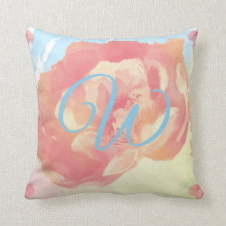 Monogram with blue and pink rose watercolors cushion