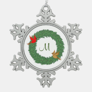 Monogram with Cardinals in Evergreen Wreath Snowflake Pewter Christmas Ornament