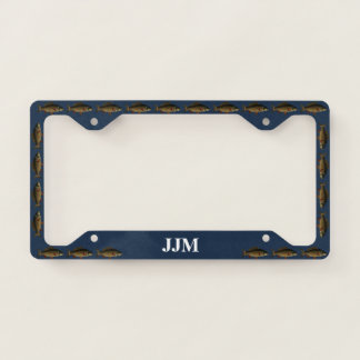 Monogram with Carp Fish on Blue Licence Plate Frame