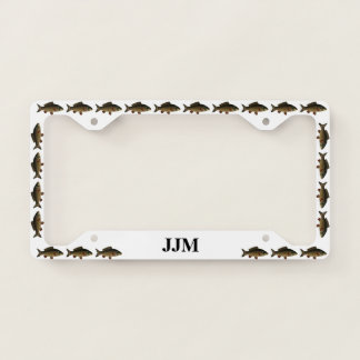 Monogram with Carp Fish on White Licence Plate Frame