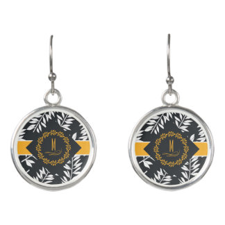 Monogram with Golden Yellow and Charcoal Gray Earrings