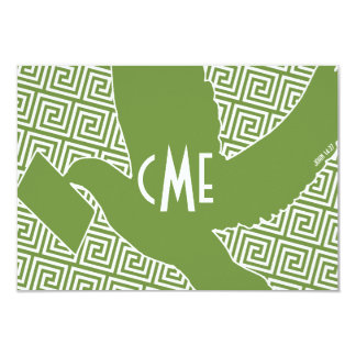 Monogram with Greek Key Carrier Dove Note Card