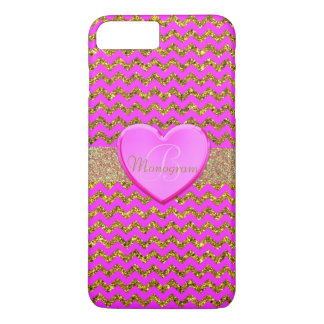Monogram with Heart on Pink and Gold Pattern iPhone 8 Plus/7 Plus Case