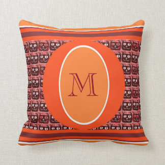 monogram with illustrated little cat face cartoon throw pillow