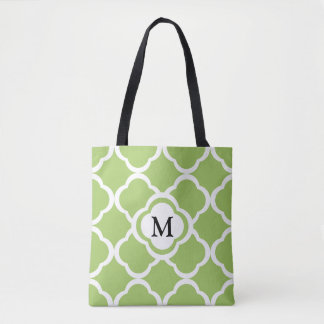 Monogram With Lime Green Quatrefoil Pattern Tote Bag