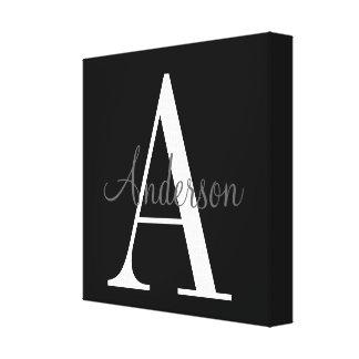 Monogram with Name Overlay Canvas Print