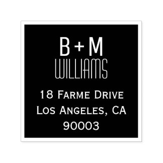 monogram with return address information square self-inking stamp