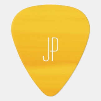 Monogram with soft shades of golden orange stripes guitar pick