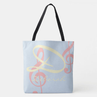 monogram with treble clefs, pale colors music tote bag