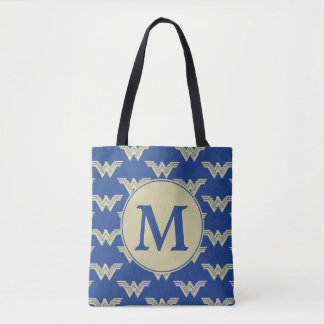 Monogram Wonder Woman Logo Pattern Tote Bag