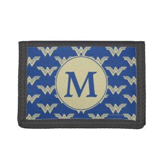 Monogram Wonder Woman Logo Pattern Tri-fold Wallets