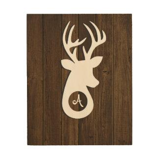 Monogram Wood Buck Wood Prints