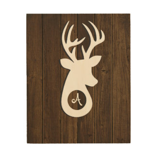 Monogram Wood Buck Wood Wall Art